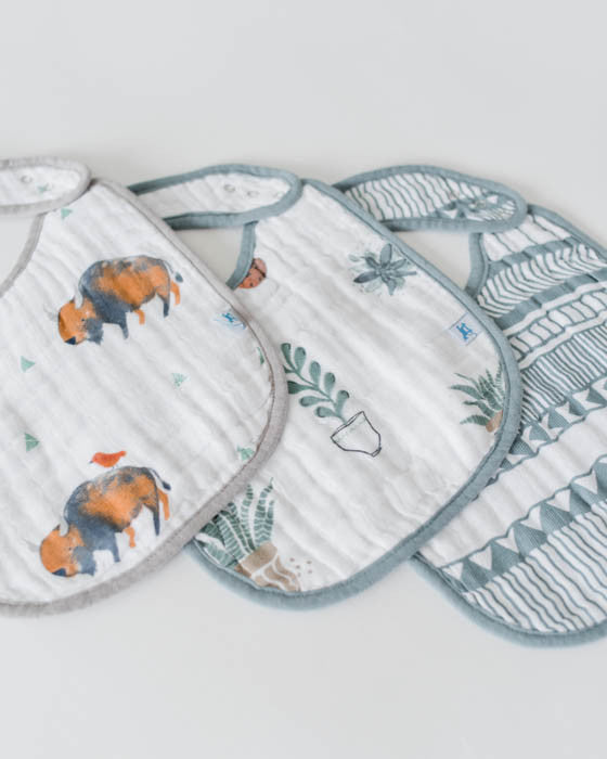 Cotton Muslin Classic Bib 3 pack - Bison