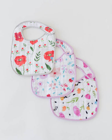 Cotton Muslin Classic Bib 3 pack - Floral Medley