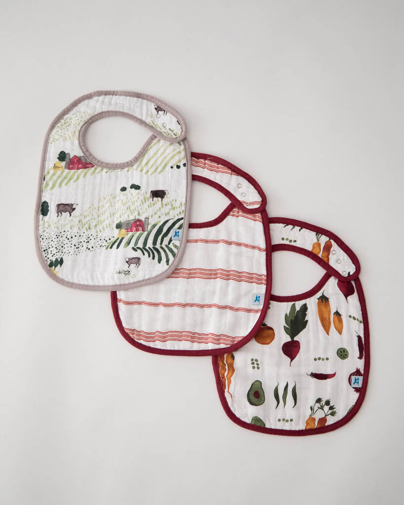 Cotton Muslin Classic Bib 3 pack - Farmers Market Set