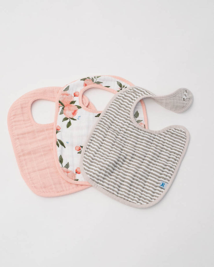 Cotton Muslin Classic Bib 3 Pack - Watercolor Roses