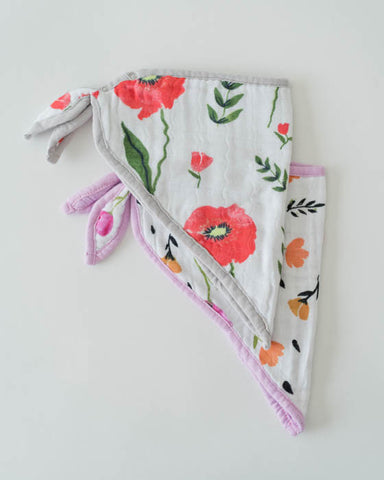 Cotton Muslin Bandana Drool Bib - Summer Poppy