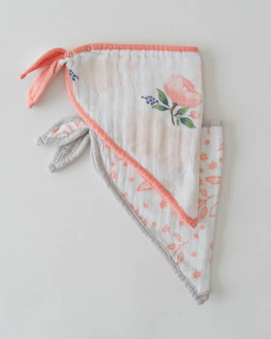 Cotton Muslin Bandana Bib - Watercolor Rose