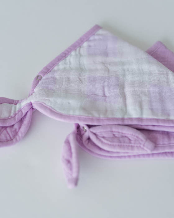 Cotton Muslin Bandana Drool Bib - Lilac Plaid