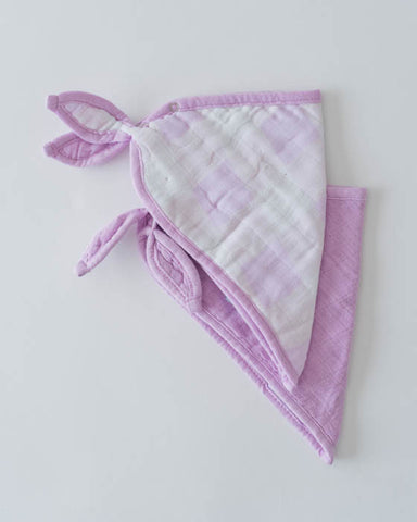 Cotton Muslin Bandana Bib - Lilac Plaid