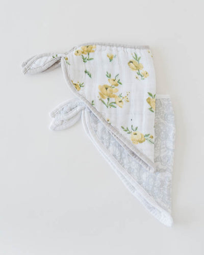 Cotton Muslin Bandana Drool Bib - Yellow Rose
