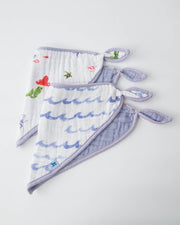 Cotton Muslin Bandana Drool Bib - Mermaid Set