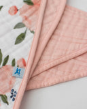 Cotton Muslin Bandana Drool Bib - Watercolor Roses