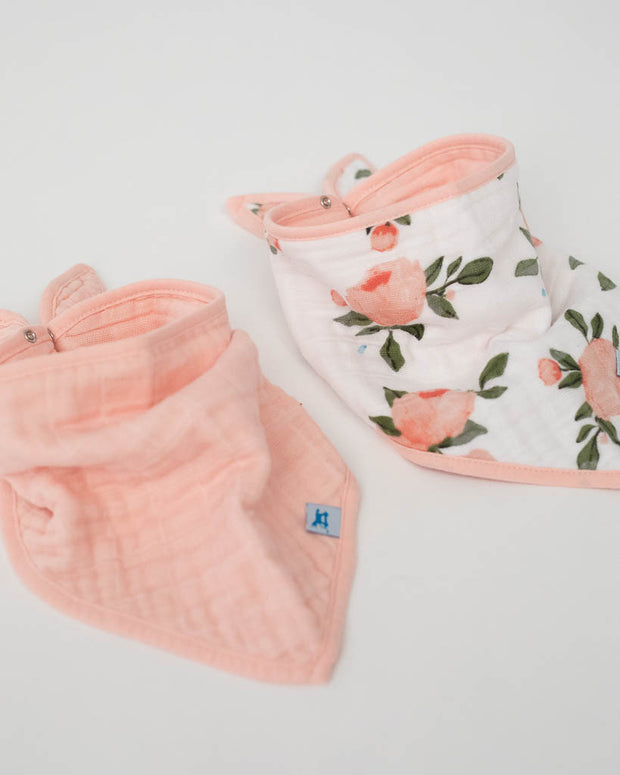 Cotton Muslin Bandana Bib 2 pack - Watercolor Roses