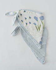 Deluxe Muslin Bandana Drool Bib - Blue Windflower