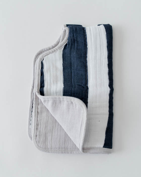 Cotton Muslin Burp Cloth - Navy Stripe