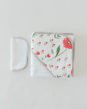 Hooded Towel & Washcloth Set - Summer Poppy