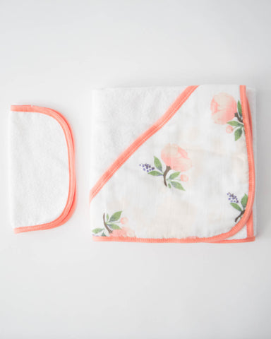 Hooded Towel & Washcloth Set - Watercolor Rose