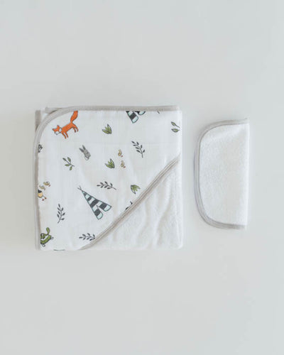 Hooded Towel & Washcloth Set - Forest Friends