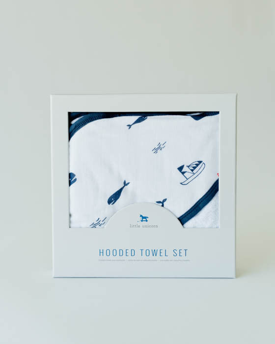 Hooded Towel & Washcloth Set - Nautical Harbor