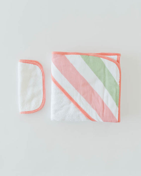 Hooded Towel & Washcloth Set - Cabana Stripe