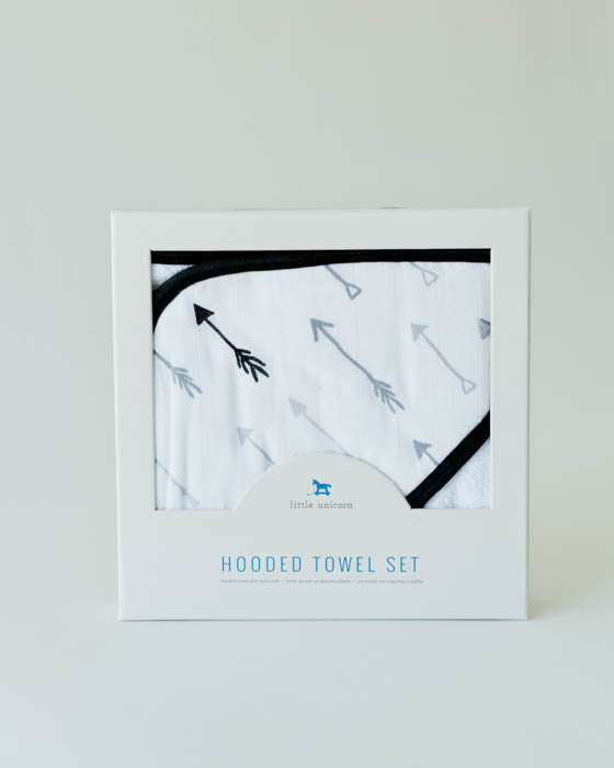 Hooded Towel & Washcloth Set - Arrow