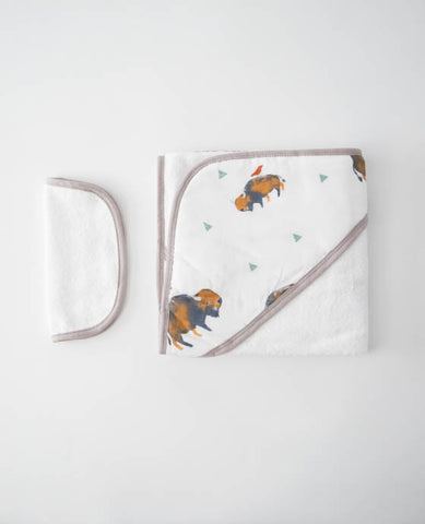 Hooded Towel & Washcloth Set - Bison