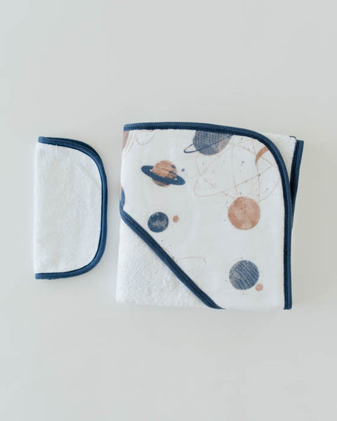 Hooded Towel & Washcloth Set - Planetary