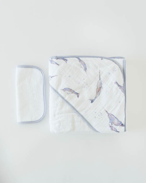 Hooded Towel & Washcloth Set - Narwhal