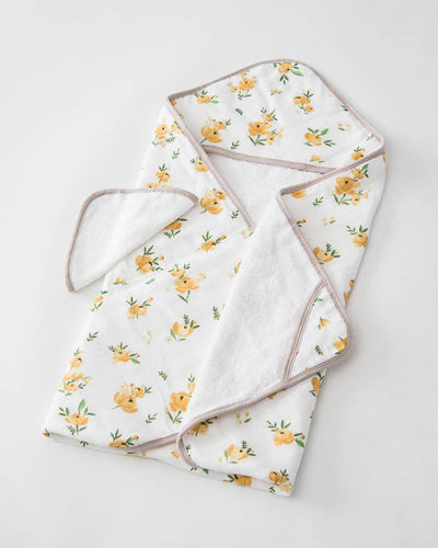Hooded Towel & Washcloth Set - Yellow Rose