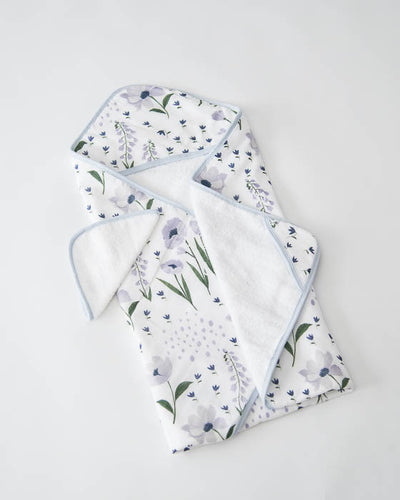 Hooded Towel & Washcloth Set - Blue Windflower