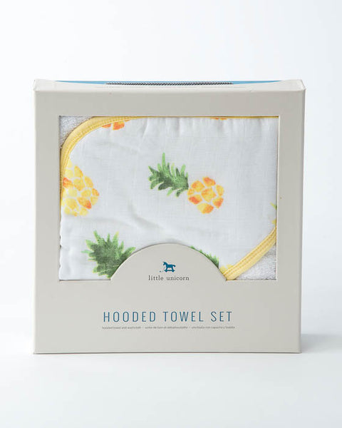 Hooded Towel & Washcloth Set - Pineapple