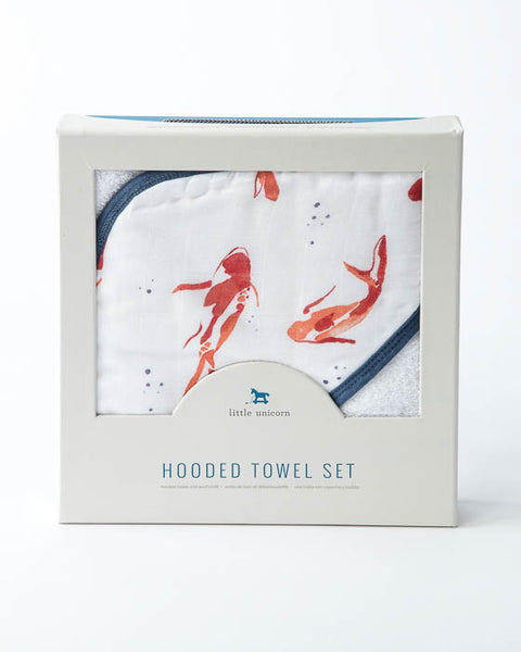 Hooded Towel & Washcloth Set - Fish Pond