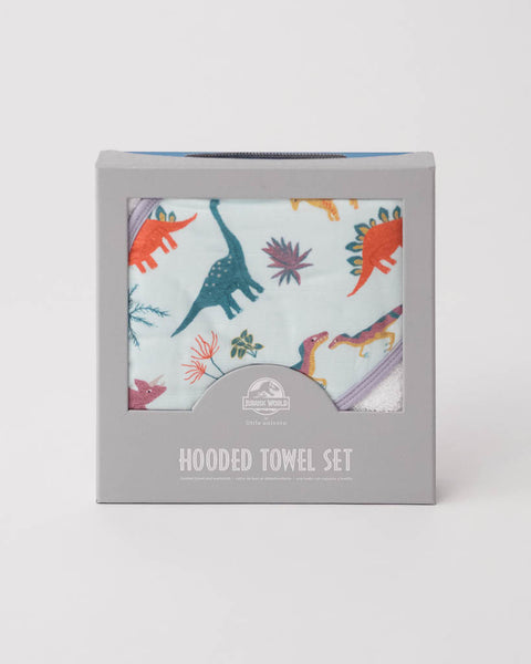 LU + Jurassic World Hooded Towel & Washcloth Set - Embroidosaurus