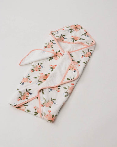 Cotton Hooded Towel & Wash Cloth Set - Watercolor Roses Set