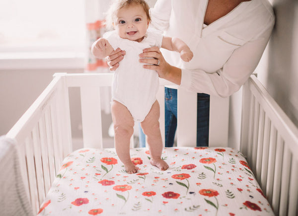 Cotton Muslin Crib Sheet - Summer Poppy