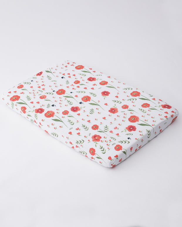 Cotton Muslin Mini Crib Sheet - Summer Poppy