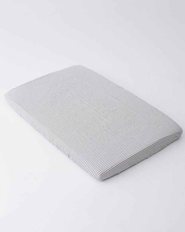 Cotton Muslin Mini Crib Sheet - Grey Stripe
