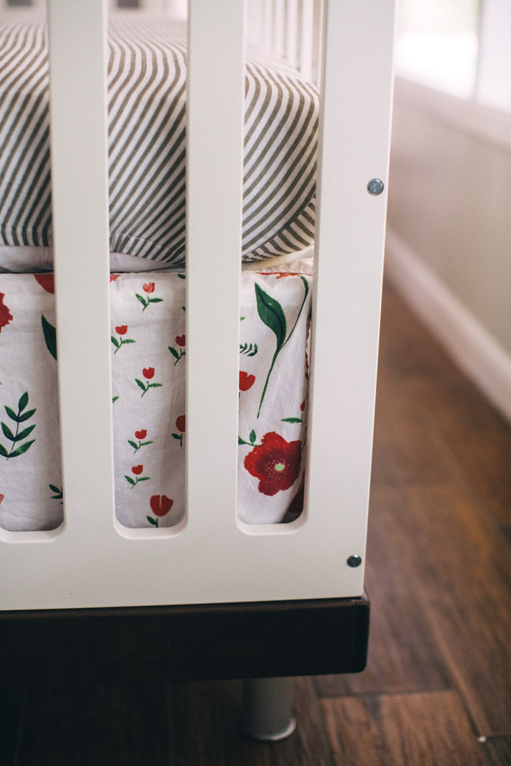 Cotton Muslin Crib Skirt - Summer Poppy