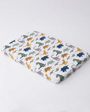 Cotton Muslin Mini Crib Sheet - Dino Friends