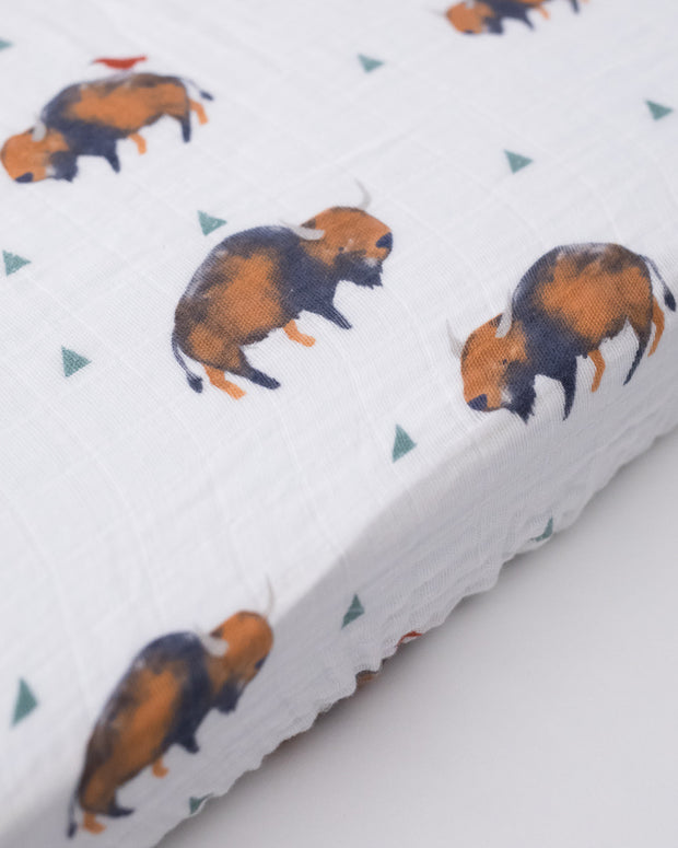 Cotton Muslin Mini Crib Sheet - Bison