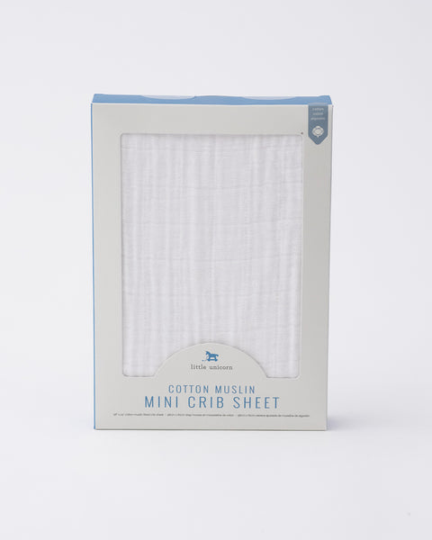 Cotton Muslin Mini Crib Sheet - White