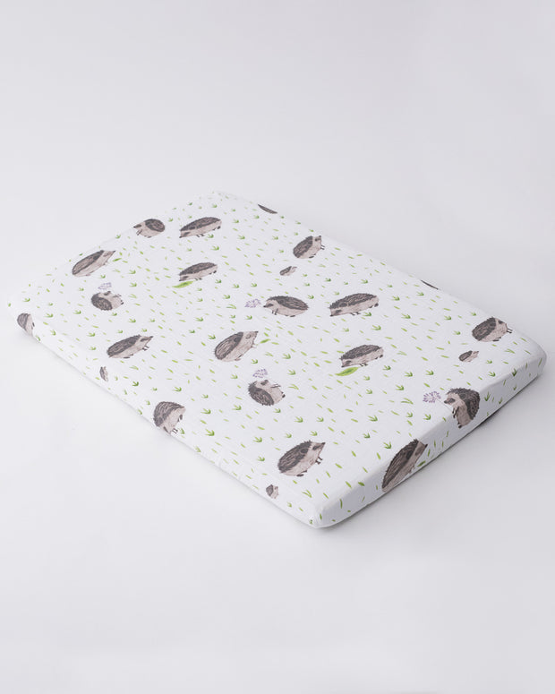 Cotton Muslin Mini Crib Sheet - Hedgehog