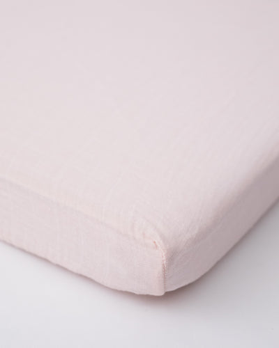 Cotton Muslin Mini Crib Sheet - Blush