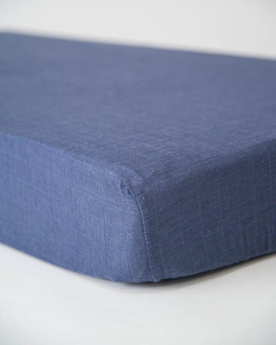 Cotton Muslin Crib Sheet - Indigo Wash