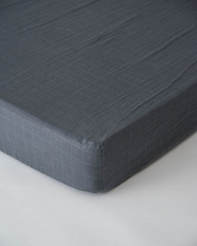 Cotton Muslin Crib Sheet - Charcoal