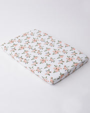 Cotton Muslin Mini Crib Sheet - Watercolor Roses