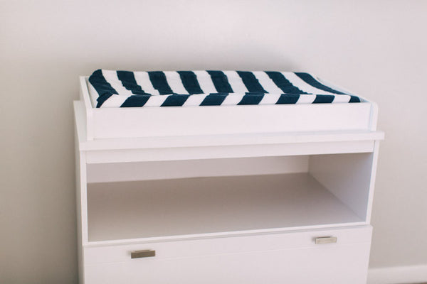 Cotton Changing Pad Cover - Navy Stripe
