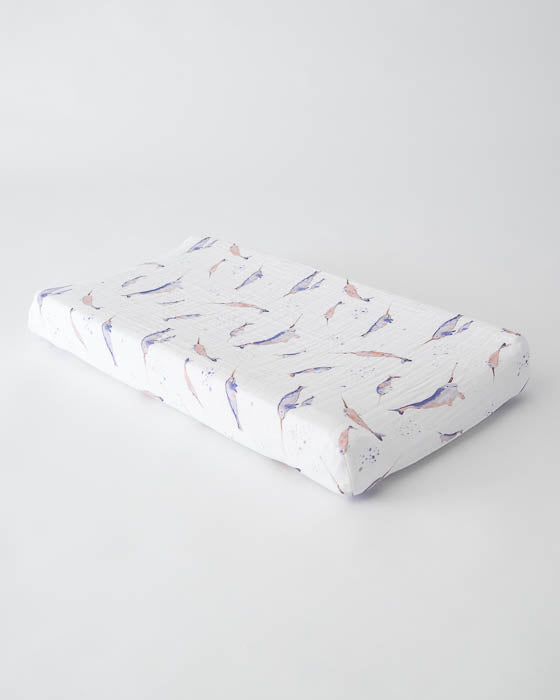Cotton Changing Pad Cover - Narwhal
