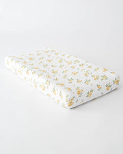 Cotton Changing Pad Cover - Yellow Rose