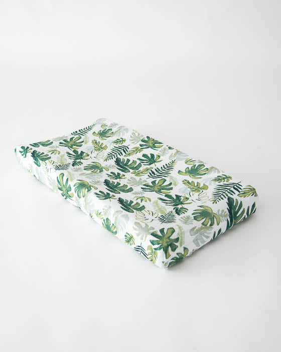 Cotton Muslin Changing Pad Cover - Tropical Leaf