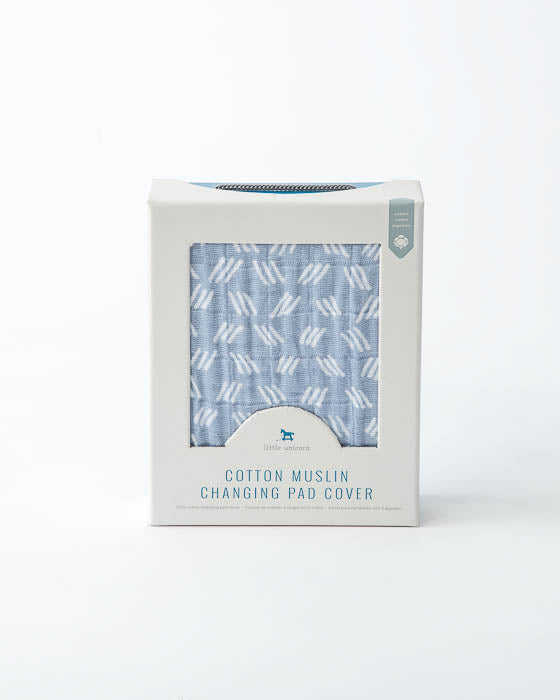 Cotton Changing Pad Cover - Blue Grass