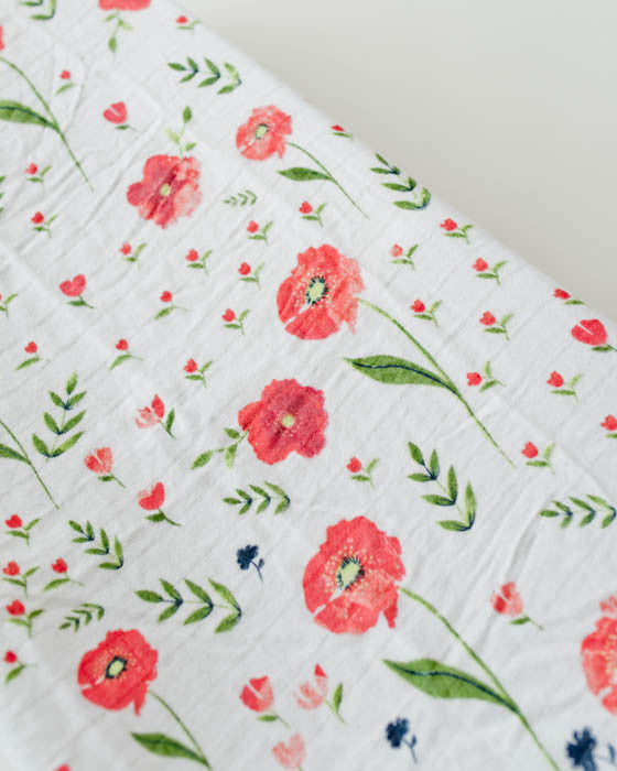 Brushed Changing Pad Cover - Summer Poppy