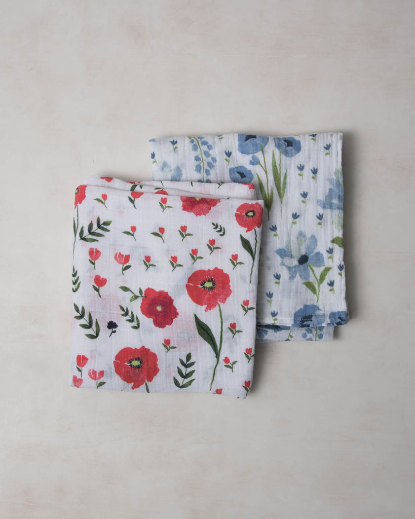 Little Unicorn Organic Cotton Swaddle Set - Summer Poppy