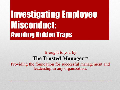 Investigating Employee Misconduct