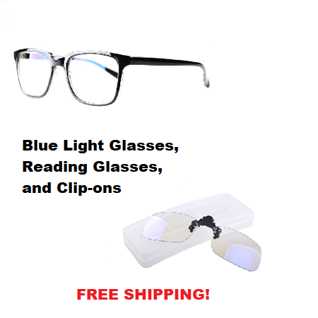 BLUE LIGHT BLOCKING GLASSES, READING GLASSES AND CLIP-ONS FROM EYES PC